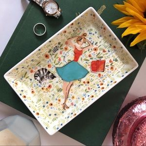Studio Oh! Cat Lady Bookworm Ceramic Trinket Tray